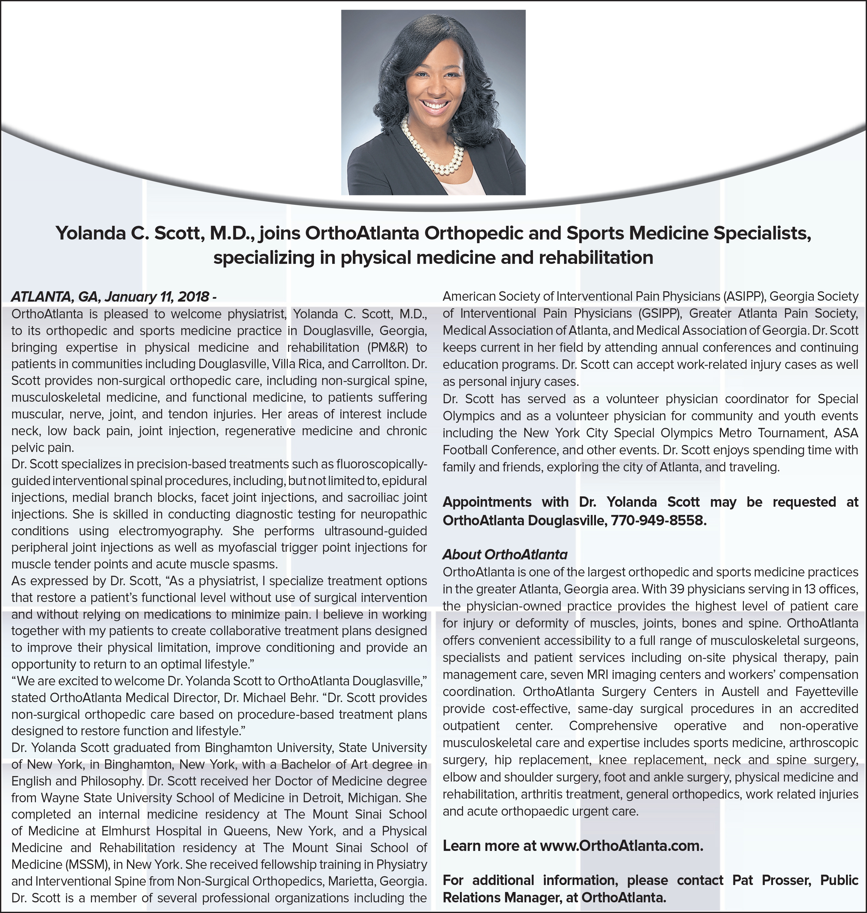 Yolanda Scott, M.D. joins OrthoAtlanta Orthopedic and Sports Medicine Specialists