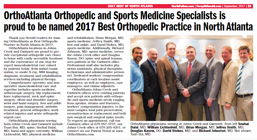 OrthoAtlanta 2017 Best Orthopedic practice in North Atlanta
