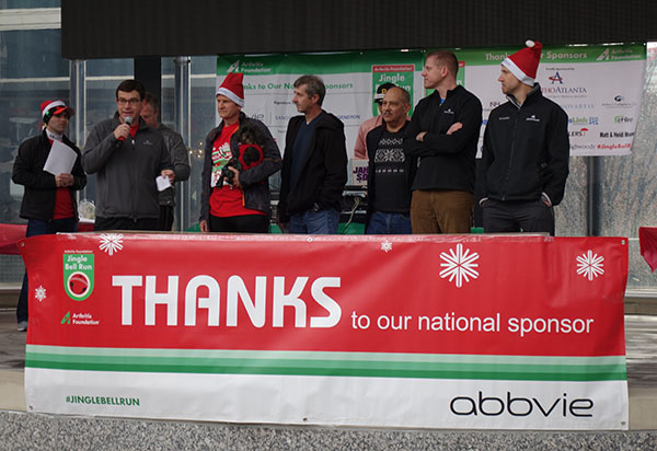 OrthoAtlanta physicians provide opening comments at the 2018 Atlanta Jingle Bell Run for Arthritis