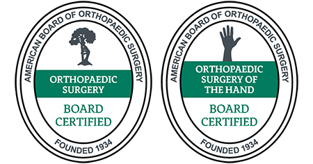 American Board of Orthopaedic Surgery Orthopaedic Surgery Board Certified and Orthopaedic Surgery of the Hand Board Certified logos