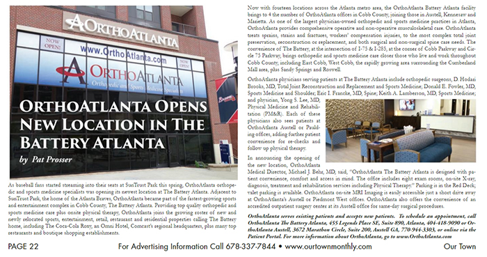 OrthoAtlanta The Battery Atlanta in Our Town Magazine